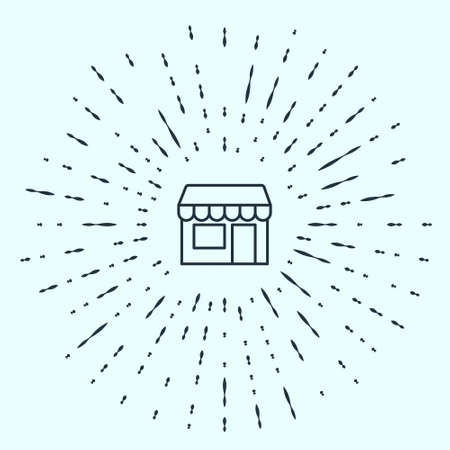 Black line Shopping building or market store icon isolated on grey background. Shop construction. Abstract circle random dots. Vector Stock Illustratie