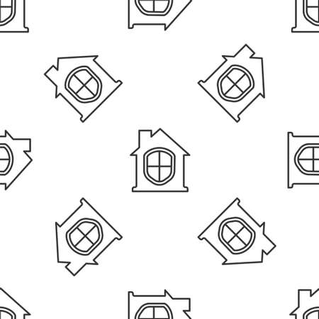 Grey line House under protection icon isolated seamless pattern on white background. Home and shield. Protection, safety, security, protect, defense concept. Vector Illustration