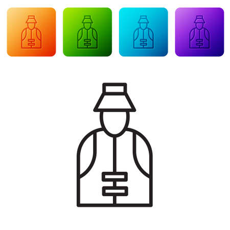 Black line Fisherman icon isolated on white background. Set icons in color square buttons. Vector