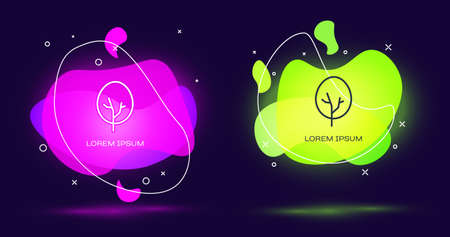 Line Tree icon isolated on black background. Forest symbol. Abstract banner with liquid shapes. Vector
