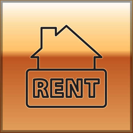 Black line Hanging sign with text Rent icon isolated on gold background. Signboard with text For Rent. Vector