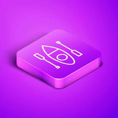 Isometric line Kayak and paddle icon isolated on purple background. Kayak and canoe for fishing and tourism. Outdoor activities. Purple square button. Vector Ilustração