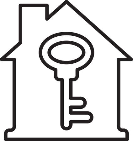 Black line House with key icon isolated on white background. The concept of the house turnkey. Vector