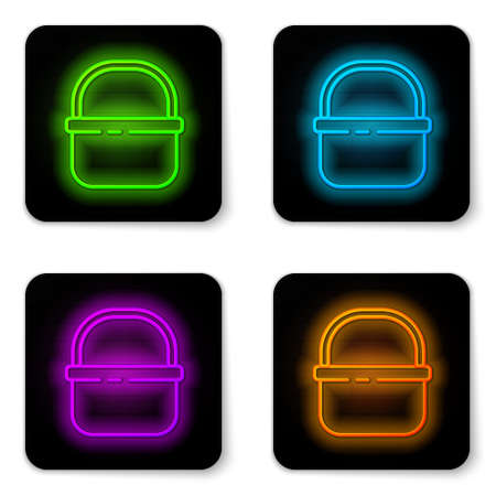 Glowing neon line Basket icon isolated on white background. Online buying concept. Delivery service sign. Shopping cart symbol. Black square button. Vector