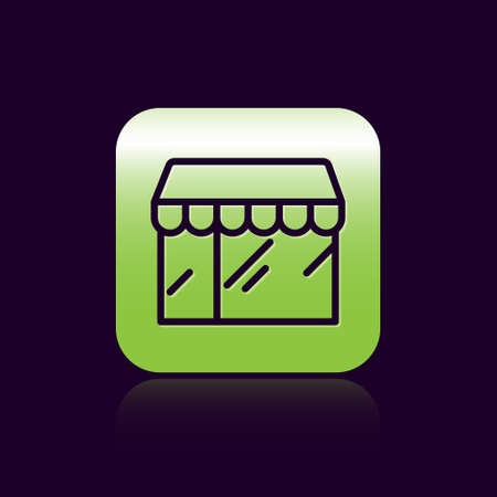 Black line Shopping building or market store icon isolated on black background. Shop construction. Green square button. Vector