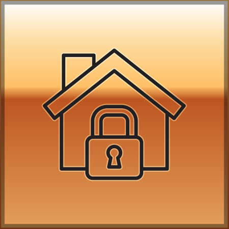Black line House under protection icon isolated on gold background. Home and lock. Protection, safety, security, protect, defense concept. Vector