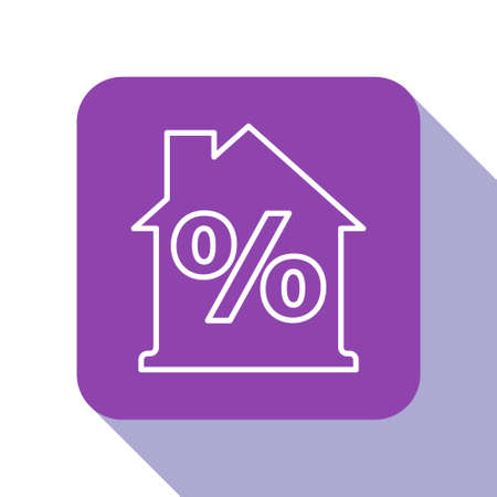 White line House with percant discount tag icon isolated on white background. Real estate home. Credit percentage symbol. Purple square button. Vector Illustration