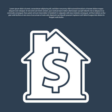 Blue line House with dollar symbol icon isolated on blue background. Home and money. Real estate concept. Vector Ilustração