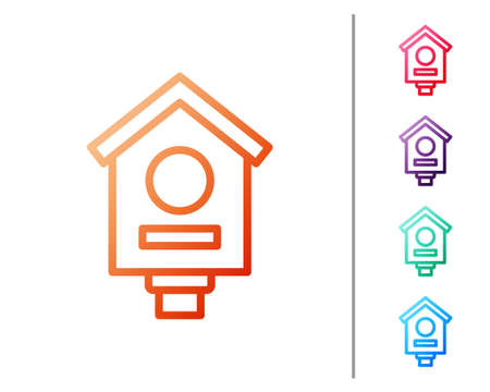 Red line Bird house icon isolated on white background. Nesting box birdhouse, homemade building for birds. Set color icons. Vector