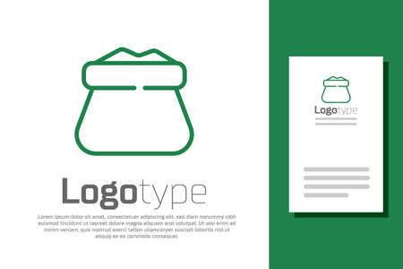 Green line Full sack icon isolated on white background. Logo design template element. Vector