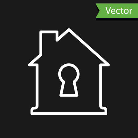 White line House under protection icon isolated on black background. Home and shield. Protection, safety, security, protect, defense concept. Vector Illustration