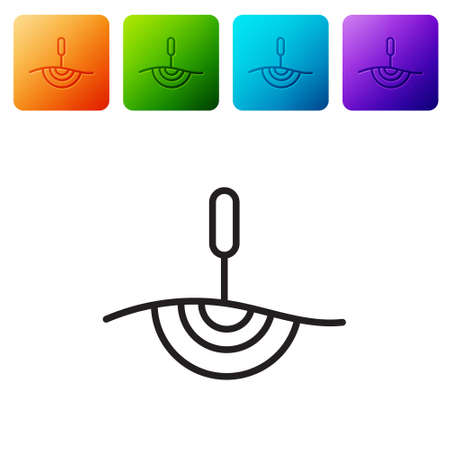 Black line Acupuncture therapy icon isolated on white background. Chinese medicine. Holistic pain management treatments. Set icons in color square buttons. Vector