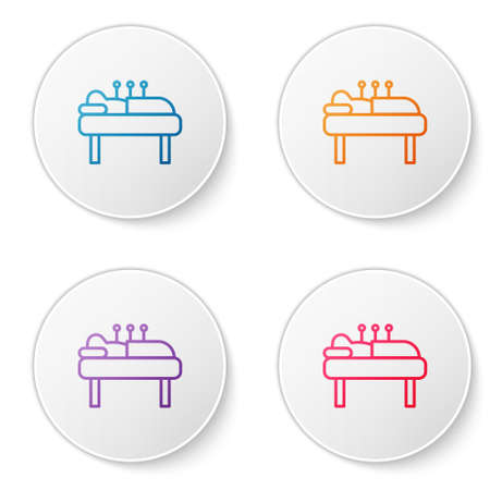 Color line Acupuncture therapy icon isolated on white background. Chinese medicine. Holistic pain management treatments. Set icons in circle buttons. Vector