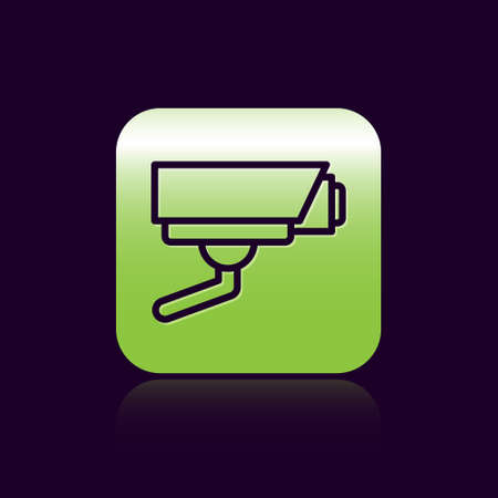 Black line Security camera icon isolated on black background. Green square button. Vector