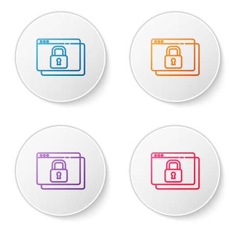Color line Secure your site with HTTPS, SSL icon isolated on white background. Internet communication protocol. Set icons in circle buttons. Vector Ilustração