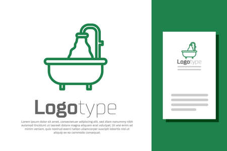 Green line Bathtub icon isolated on white background. Logo design template element. Vector