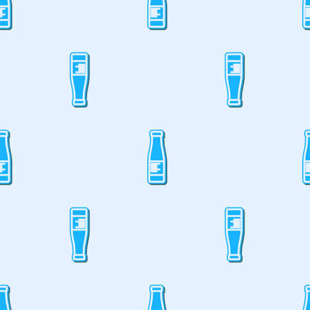 Blue line Sauce bottle icon isolated seamless pattern on grey background. Ketchup, mustard and mayonnaise bottles with sauce for fast food. Vector. 矢量图像