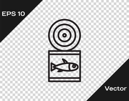 Black line Canned fish icon isolated on transparent background. Vector. Vettoriali