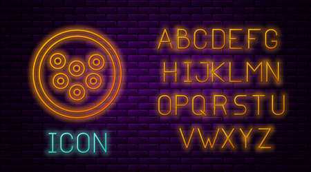 Glowing neon line Caviar on a plate icon isolated on brick wall background. Neon light alphabet. Vector.