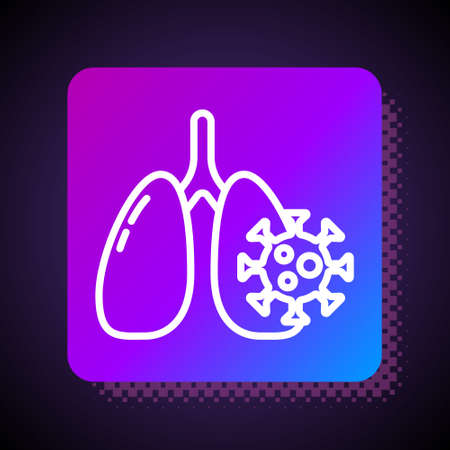 White line Virus cells in lung icon isolated on black background. Infected lungs. Coronavirus, COVID-19. 2019-nCoV. Square color button. Vector. 向量圖像