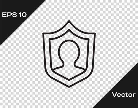Black line Life insurance with shield icon isolated on transparent background. Security, safety, protection, protect concept. Vector.