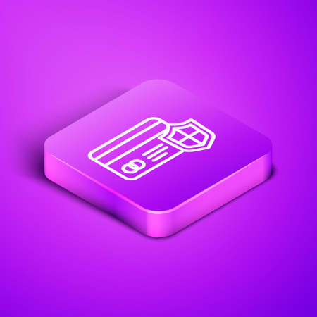 Isometric line Credit card with shield icon isolated on purple background. Online payment. Cash withdrawal. Financial operations. Shopping sign. Purple square button. Vector.