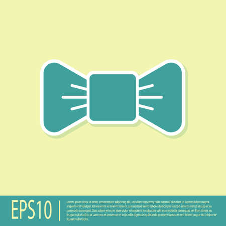 Green Bow tie icon isolated on yellow background. Vector Illustration Vectores