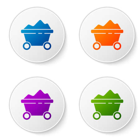 Color Coal mine trolley icon isolated on white background. Factory coal mine trolley. Set icons in circle buttons. Vector Illustration
