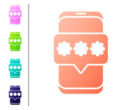 Coral Mobile and password protection icon isolated on white background. Security, safety, personal access, user authorization, privacy. Set color icons. Vector Illustration