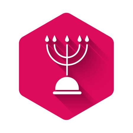 White Hanukkah menorah icon isolated with long shadow. Hanukkah traditional symbol. Holiday religion, jewish festival of Lights. Pink hexagon button. Vector Illustration Ilustracja