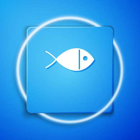 White Christian fish symbol icon isolated on blue background. Jesus fish symbol. Blue square button. Vector Illustration