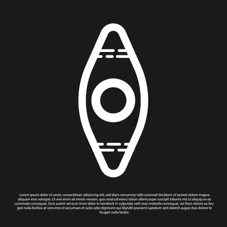 Black Kayak and paddle icon isolated on black background. Kayak and canoe for fishing and tourism. Outdoor activities. Vector Illustration