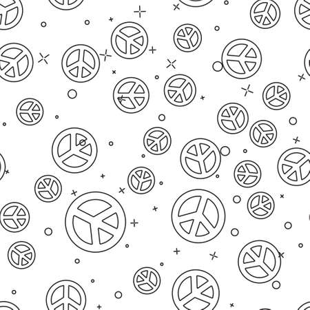 Black line Peace icon isolated seamless pattern on white background. Hippie symbol of peace. Vector Illustration