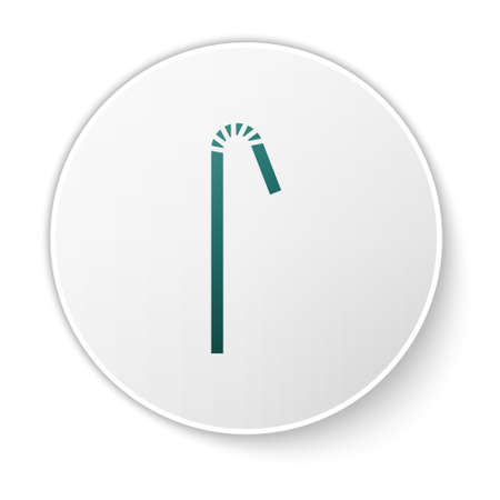 Green Drinking plastic straw icon isolated on white background. White circle button. Vector Illustration