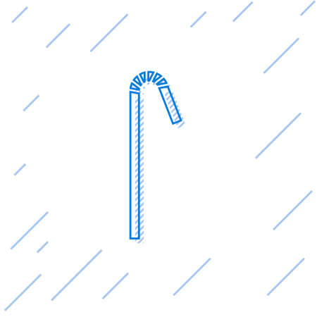 Blue line Drinking plastic straw icon isolated on white background. Vector Illustration Ilustração