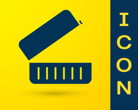 Blue Lunch box icon isolated on yellow background. Vector Illustration