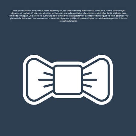 Blue line Bow tie icon isolated on blue background. Vector Illustration