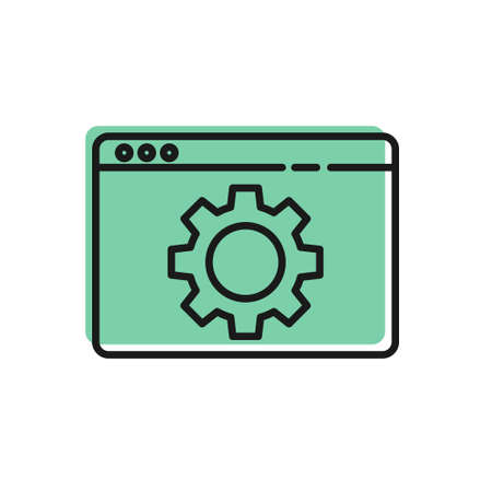 Black line Browser setting icon isolated on white background. Adjusting, service, maintenance, repair, fixing. Vector Illustration Vettoriali
