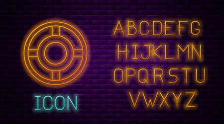Glowing neon line Ashtray icon isolated on brick wall background. Neon light alphabet. Vector Illustration Vettoriali