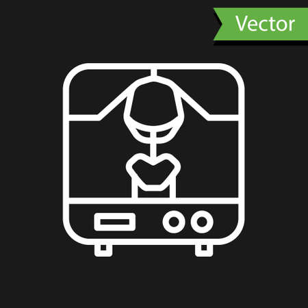 White line X-ray machine icon isolated on black background. Vector Illustration
