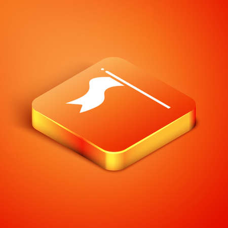 Isometric Meteorology windsock wind vane icon isolated on orange background. Windsock indicate the direction and strength of the wind. Vector Illustration