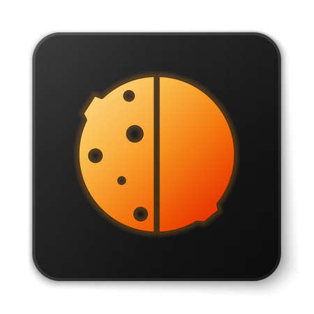 Orange glowing neon Eclipse of the sun icon isolated on white background. Total sonar eclipse. Black square button. Vector Illustration