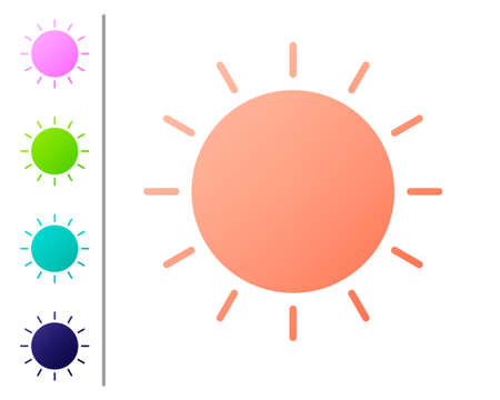 Coral Sun icon isolated on white background. Summer symbol. Good sunny day. Set color icons. Vector Illustration