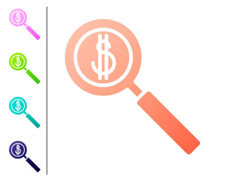Coral Magnifying glass and dollar symbol icon isolated on white background. Find money. Looking for money. Set color icons. Vector Illustration