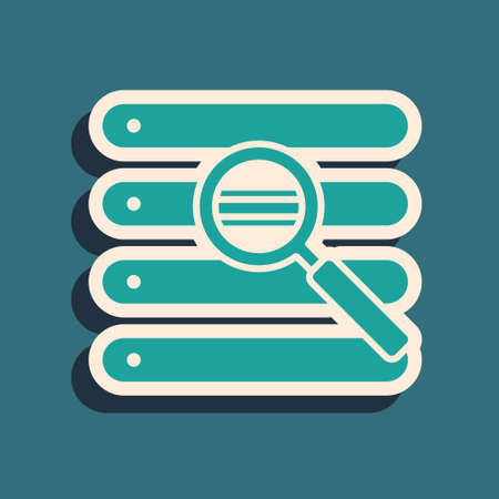 Green Search in a browser window icon isolated on green background. Long shadow style. Vector Illustration
