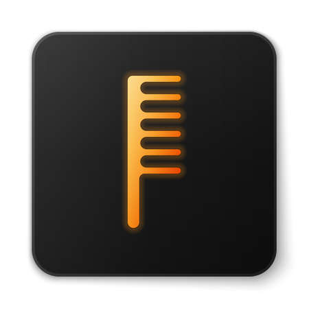 Orange glowing neon Hairbrush icon isolated on white background. Comb hair sign. Barber symbol. Black square button. Vector Illustration