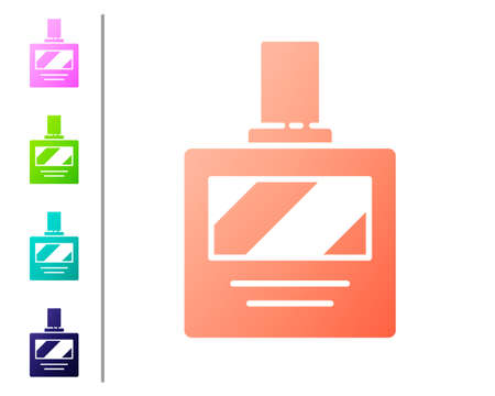 Coral Aftershave icon isolated on white background. Cologne spray icon. Male perfume bottle. Set color icons. Vector Illustration Ilustração