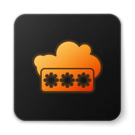 Orange glowing neon Password protection and safety access icon isolated on white background. Security, safety, protection, privacy concept. Black square button. Vector Illustration