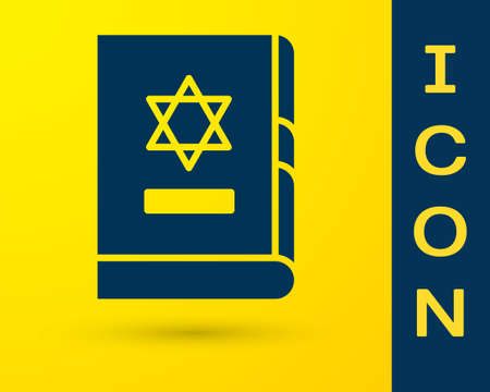 Blue Jewish torah book icon isolated on yellow background. On the cover of the Bible is the image of the Star of David. Vector Illustration Vektorové ilustrace