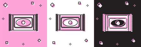 Set Traditional carpet culture ramadan arabic islamic celebration icon isolated on pink and white, black background. Vector Illustration